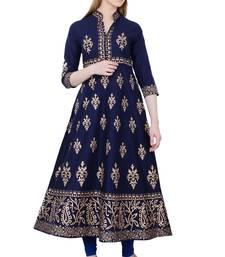 India Pakisthani Anarkali Cotton Kurta For Women Blue Mirror HandWork Kurta