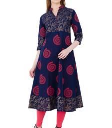 Buy Multicolor printed cotton long kurtis women-ethnic-wear online