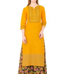 Mustard embroidered cotton long kurtis