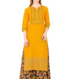 Mustard embroidered cotton long kurtis