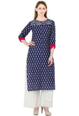 Multicolor printed cotton long kurtis