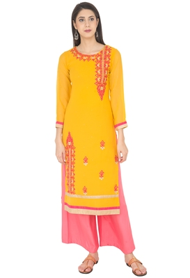 Yellow embroidered georgette long kurtis