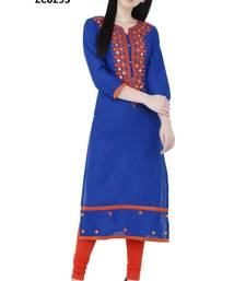 Blue embroidered georgette long kurtis