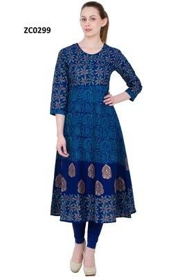 Blue printed cotton long kurtis