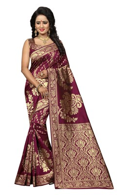 Maroon woven banarasi art silk saree with blouse