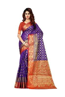 Purple woven patola saree with blouse