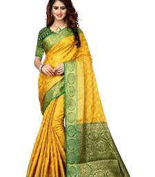 Buy Yellow woven patola saree with blouse ethnic-saree online