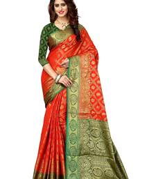 Buy Orange woven patola saree with blouse indian-dress online