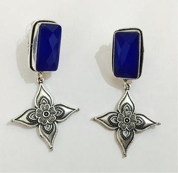 Ethnic India Oxidized Silver Blue Stone Dangler Earrings , En66