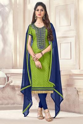 Green resham embroidery jacquard salwar