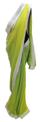 lemon n green shaded saree