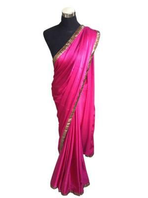 Pink Satin Sare