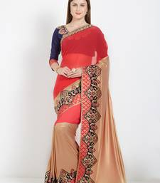 Buy violet lycra and marble chiffon saree with blouse great-indian-saree-festival online
