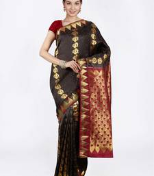 Buy Black hand woven pure silk saree with blouse silk-saree online