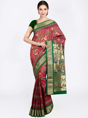 Rust Hand Woven Pure Silk Saree With Blouse