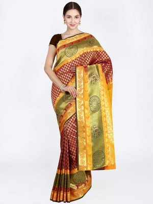Maroon hand woven art silk saree with blouse