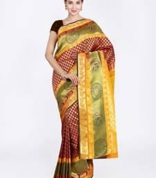 Maroon hand woven art silk saree with blouse