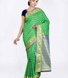 Light green hand woven art silk saree with blouse