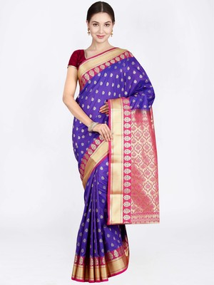 Violet hand woven art silk saree with blouse