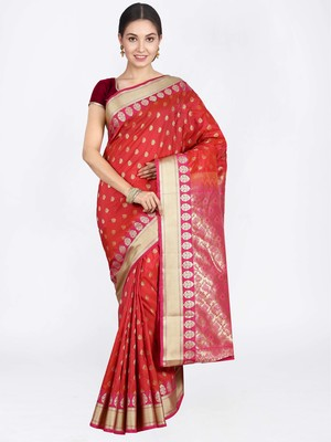 Rust hand woven art silk saree with blouse