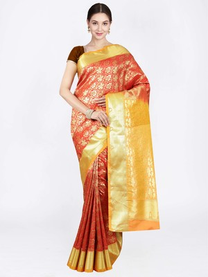 Red hand woven art silk saree with blouse