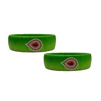 Green pearl bangles silk thread