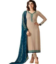 Buy Cream embroidered georgette salwar straight-suit online
