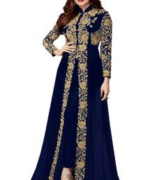 Buy Blue embroidered georgette salwar party-wear-salwar-kameez online