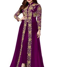 Purple embroidered Jacket style Faux Georgette Salwar Suit