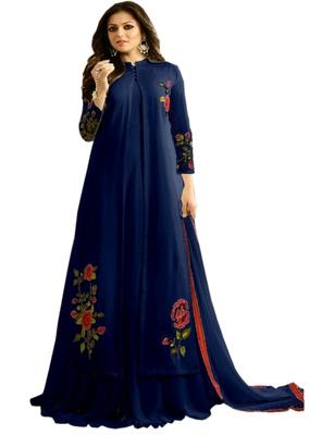 Blue embroidered georgette Anarkali Suit