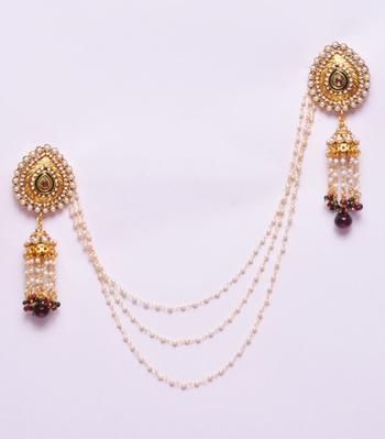 12726e3bd0234 Designer gold jhumka brooch pearl strands saree pin