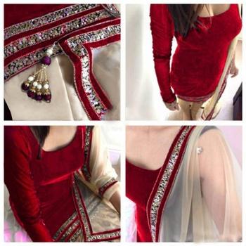 Red  Embroidery Velvet  Semi stitched Punjabi  Salwar Suit