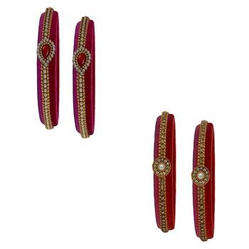 Multicolor pearl bangles silk thread