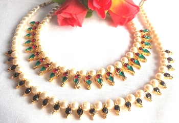Multi color With Black pearl necklace set