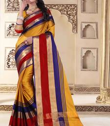 Yellow plain cotton silk saree with blouse
