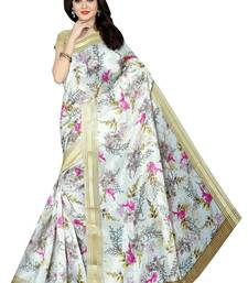Buy White printed banarasi silk saree with blouse printed-saree online