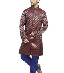 maroon brocade semi indowestern with embroidered collar butta and buttons with contrast blue bridges