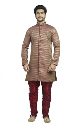 Rust  Brocade Semi Indowestern With Embroidered Velvet  Collar Butta And Buttons With Contrast  Maroon  Bridges