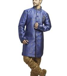 blue imported semi indowestern kurta with velvet embroidered collar buttons and butta