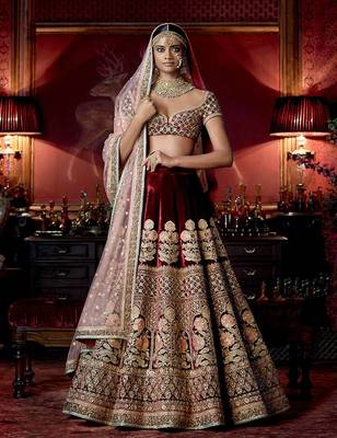 Maroon Velvet Heavy Embroidered Lehenga Choli with Dupatta