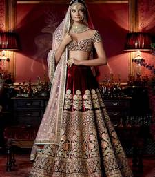 Buy Maroon Velvet Heavy Embroidered Lehenga Choli with Dupatta women-ethnic-wear online