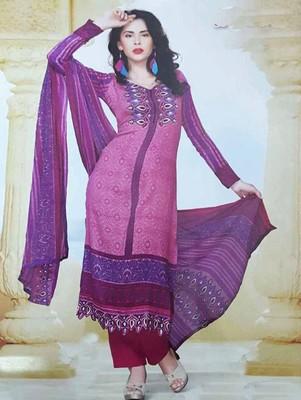 Magenta printed cotton unstitched salwar with dupatta