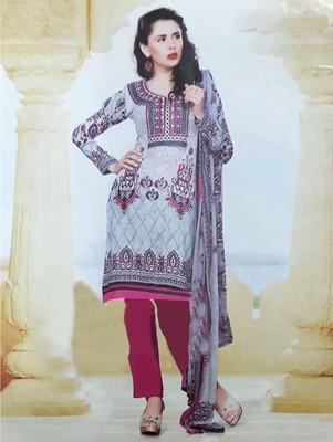 Grey printed cotton unstitched salwar with dupatta