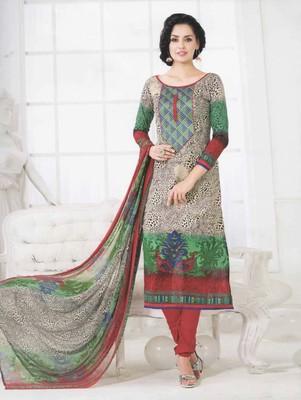 Grey embroidered cotton unstitched salwar with dupatta