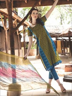 multicolour printed cotton unstitched salwar with dupatta