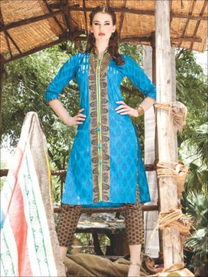 Blue printed cotton unstitched salwar with dupatta