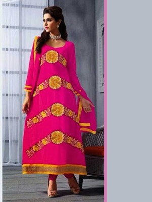 Magenta embroidered georgette unstitched salwar with dupatta