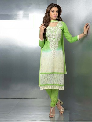 Green embroidered nazneen unstitched salwar with dupatta