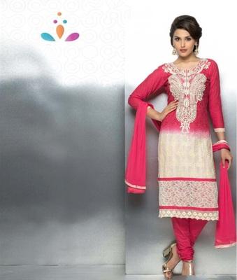 Magenta embroidered nazneen unstitched salwar with dupatta
