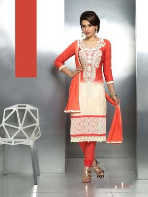Red embroidered nazneen unstitched salwar with dupatta